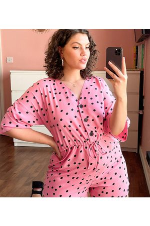 Wednesday's Girl Relaxed playsuit with drawstring waist in scattered polka dot-Pink