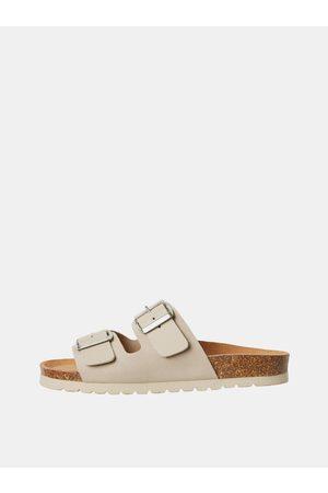 VERO MODA Béžové kožené pantofle Carla