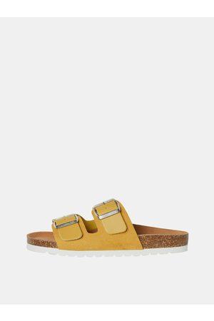 VERO MODA Žluté kožené pantofle Carla