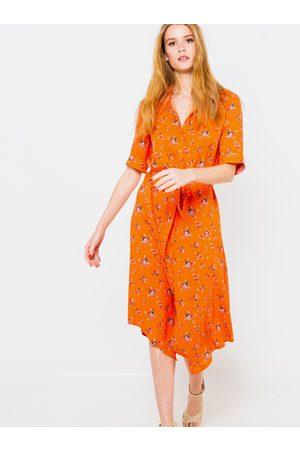 Camaïeu Oranžové květované košilové šaty