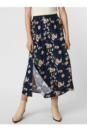 VERO MODA Květovaná maxi sukně s rozparkem Simply