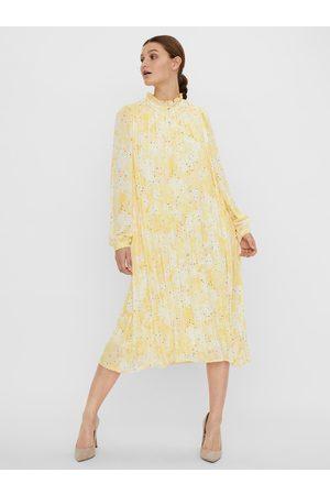 VERO MODA Žluté vzorované plisované midišaty Flora