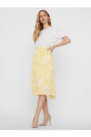 VERO MODA Žlutá vzorovaná plisovaná sukně Flora