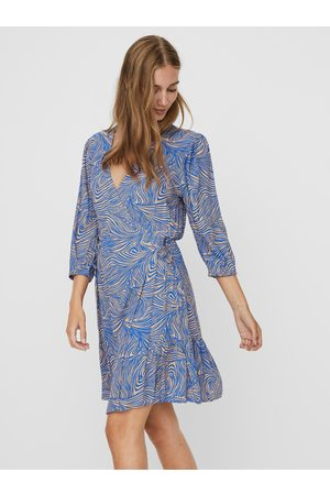 VERO MODA Modré vzorované zavinovací šaty Gea