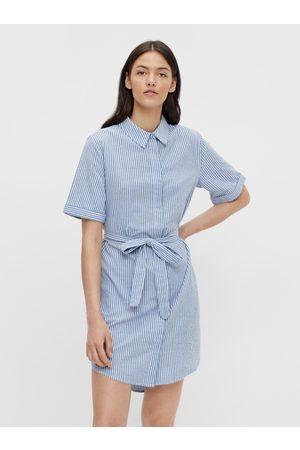 Pieces Modré pruhované košilové šaty Tampa