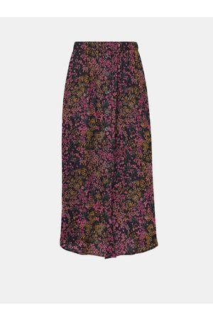 ONLY Růžovo-modrá květovaná midi sukně