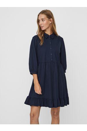 VERO MODA Tmavě modré košilové šaty s volánem Gaelle