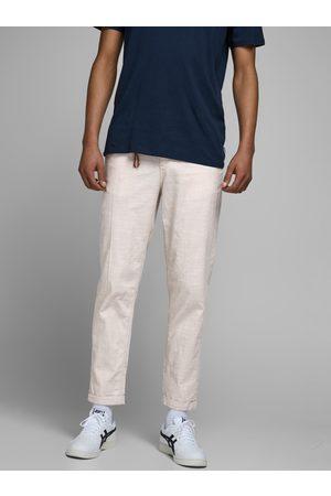 JACK & JONES Krémové kalhoty s příměsí lnu Ace