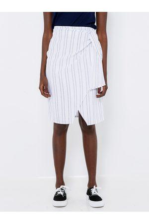 Camaïeu Lněná pruhovaná sukně