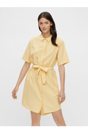 Pieces Žluté pruhované košilové šaty Tampa