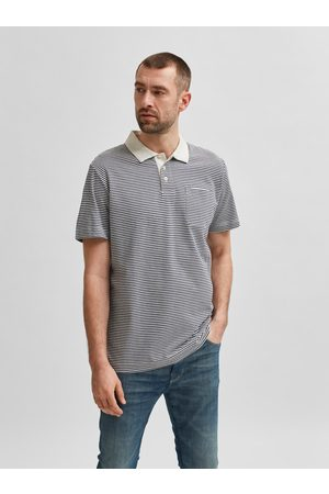 SELECTED Modro-bílé pruhované polo tričko