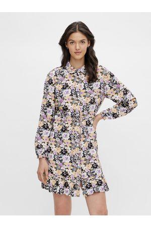 Pieces Černo-fialové květované košilové šaty Dansi