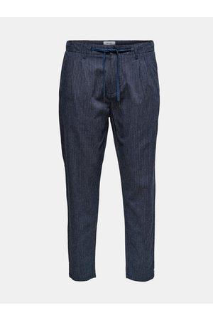 Only & Sons Tmavě modré pruhované kalhoty s příměsí lnu