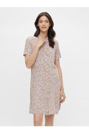 Pieces Žluto-fialové květované košilové šaty Rilla