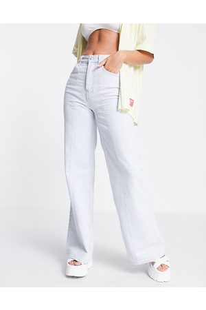 Topshop Ženy Široké nohavice - Wide leg jeans with front seams in bleach-Blue