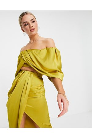 ASOS EDITION Satin drape off shoulder top in mustard-Yellow