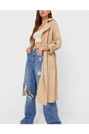 Stradivarius Recycled polyester longline trench coat in camel-Neutral