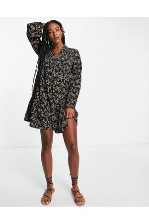Object Nina printed mini dress in black