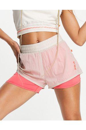Fila Ženy Kraťasy - Logo panel sport shorts in oatmeal and pink-White