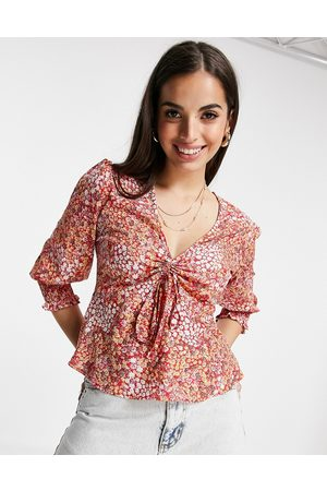 Influence Tea blouse in ditsy floral print-Multi