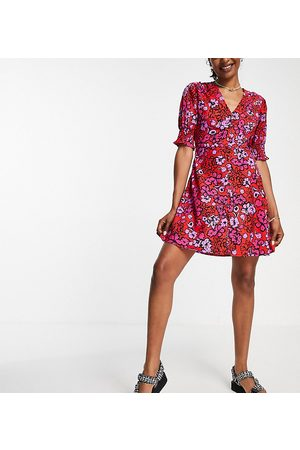 Influence Mini tea dress in red floral print