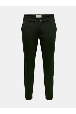 Only & Sons Tmavě zelené chino kalhoty Mark