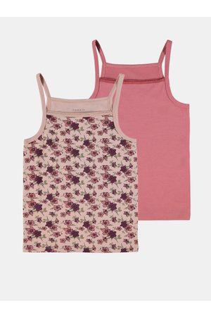 NAME IT Sada dvou holčičích košilek v růžové a fialové barvě Strap