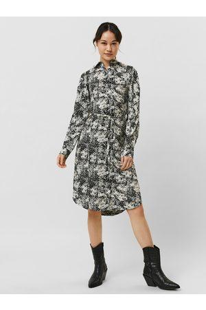 VERO MODA Krémovo-černé vzorované košilové šaty Petrinanora