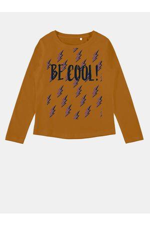 NAME IT Hořčicové holčičí tričko s potiskem Veen