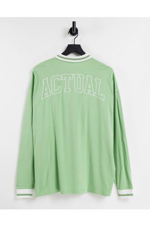 ASOS Oversized long sleeved polo with with back logo embroidery in green