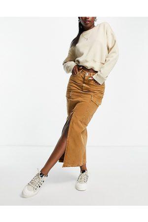 ASOS Denim utility midi skirt in tan-Brown