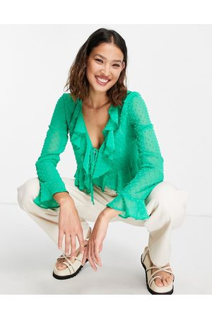 ASOS Dobby sheer long sleeve blouse with ruffle detail in green