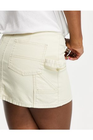 ASOS Denim low rise utility skirt in ecru-Neutral