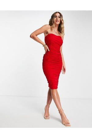 ASOS Ženy Midi - Bandeau contoured mesh ruched midi dress in red