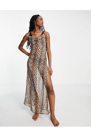 Brave Soul Ženy S potiskem - Beach dress with low back in leopard print-Brown