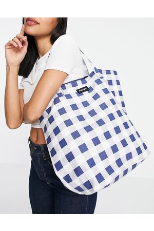 French Connection Canvas tote bag in blue and white gingham print-Multi