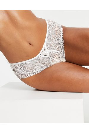ASOS DESIGN May Bridal soft lace brazilian with lace up detail in white