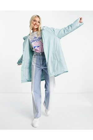 ASOS Pláštěnky - Padded button through raincoat with hood in baby blue