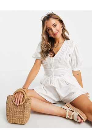 ASOS Lace insert button front playsuit in white-Multi
