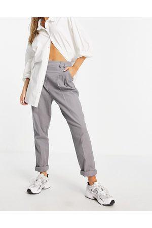 ASOS Ženy Úzké nohavice - High waist slim peg trouser in grey linen