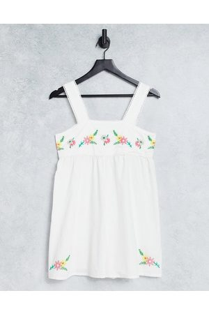 ASOS Embroidered square neck cotton playsuit in white