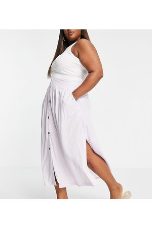 ASOS Curve ASOS DESIGN Curve button through midi skirt with deep pocket detail in lilac-Multi