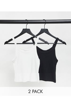 Weekday Kristy organic cotton 2 pack cami vests in black and white-Multi
