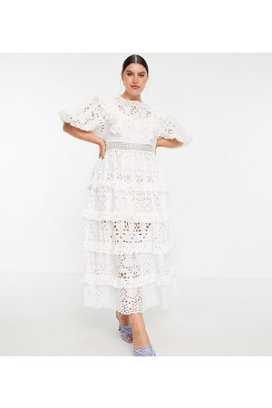 ASOS EDITION Curve tiered broderie midi dress with ruffle in white
