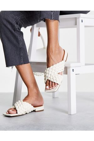 NA-KD Cross front braided flat sandals in off white