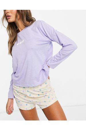 Heartbreak Multi coloured heart print pyjama set-Purple