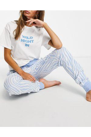 Heartbreak Pyjama set in blue zebra print