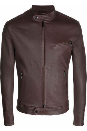DESA Leather band-collar jacket