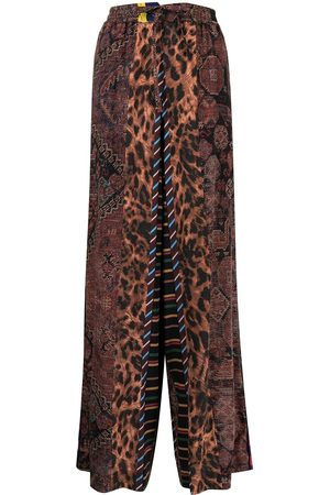 PIERRE-LOUIS MASCIA Patchwork-print wide-leg trousers