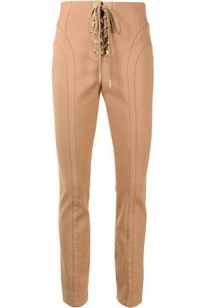 DION LEE Ženy Úzké nohavice - Lace-up slim-fit trousers